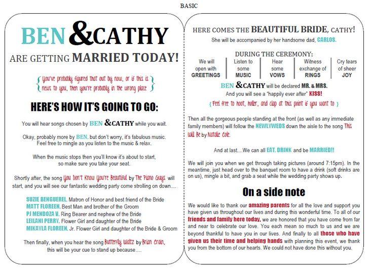 Best 25+ Funny wedding programs ideas on Pinterest | Wedding games ...
