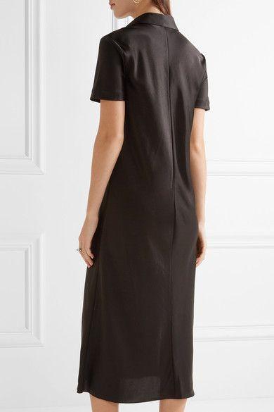 DKNY - Satin Shirt Dress - Black - US10