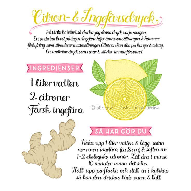 Varm citron- och ingefäradryck