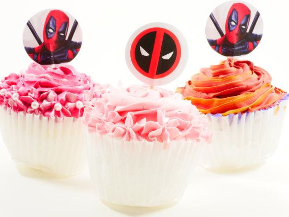 Deadpool cupcake picks cupcake topper double by HelloPartyCrafts