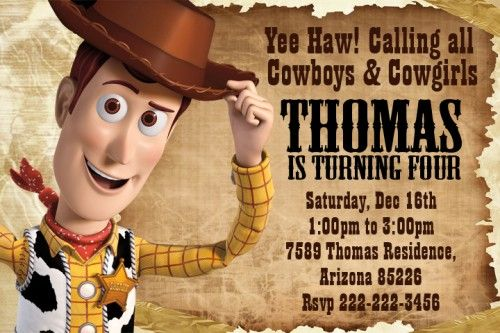 Woody Birthday Party Invitation Ideas for boy