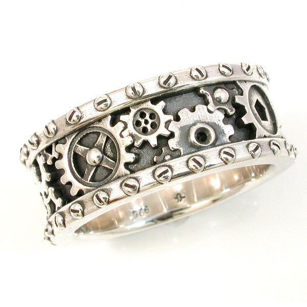 SteamPunk Mens Silver Ring - Gears and Rivets - Industrial Steam Punk... ($230) found on Polyvore