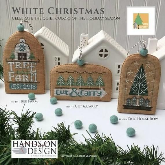 ZINC HOUSE ROW White Christmas Ornament Cross Stitch Kit | Etsy in