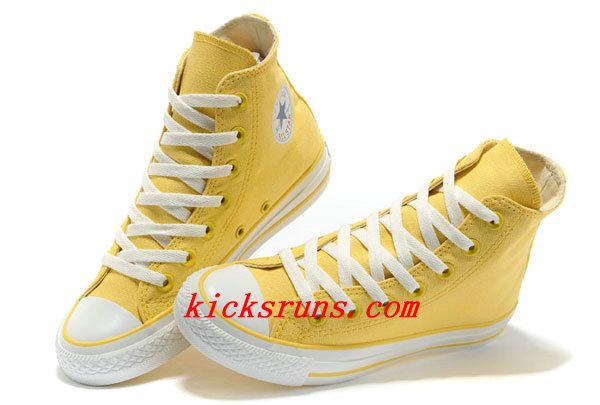 Fashion Converse New Color Lemon Yellow Chuck Taylor All Star High Tops Canvas Women Shoes