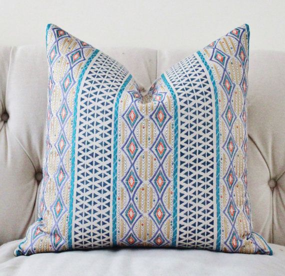 Beautiful High End Designer Throw Pillows Part - 12: Designer Geometric Pillow -Teal Beige Gold Silver Orange Embroidered  Moroccan Block Print Pillow Cover -