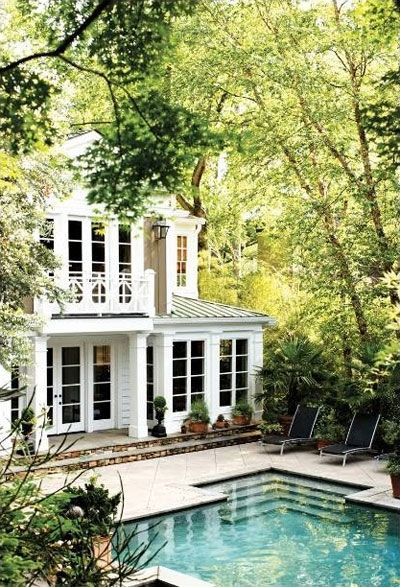 Like the windows on the back of the house and the stairs leading into the pool.: White Houses, Dreams Home, Dreams Houses, Window, Dream Homes, Dream House, Beautiful, Pools Houses, Backyard Pools