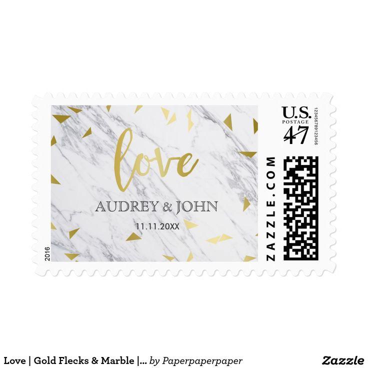 Love   Gold Flecks & Marble   Names & Wedding Date Postage