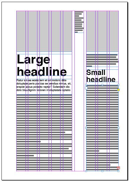 Magazine layout with nine columns. With so many columns you can have several options how to lay out your pages.