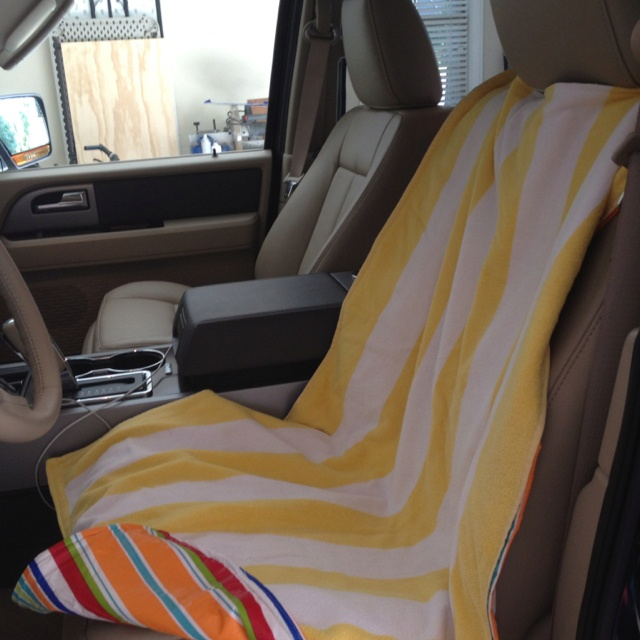 backed a beach towel with a vinyl tablecloth to protect car seats when picking sweaty kids up. Black Bedroom Furniture Sets. Home Design Ideas