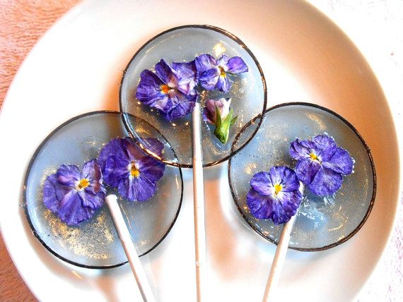 Gourmet Blueberry Ice Viola Edible Giant Lollipops Candied Fresh Flowers Wedding Favors