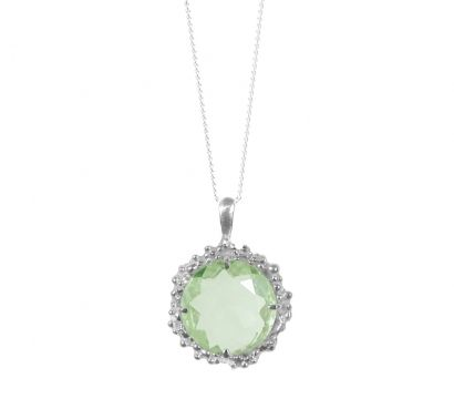 Sterling silver pendant with round faceted Green Amethyst drop. Other stones are available. Stone size 15mm