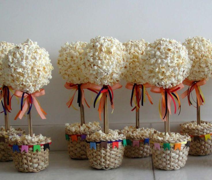 Flor de pipoca para decoração de Festa Junina, clique na imagem para ver como fazer
