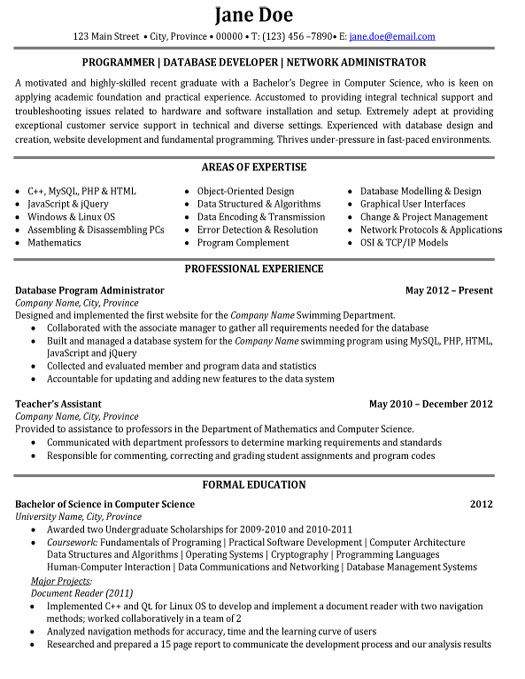 click here to download this database developer resume template