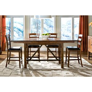 Imagio Home by Intercon San Thomas Gathering-Height Trestle Dining Table, Warm Brandy