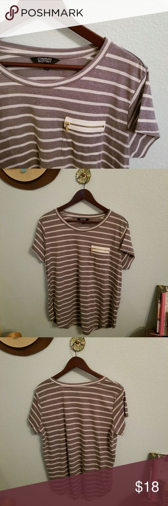 Ellen Tracy Striped Top Ellen Tracy heathered Grey & White striped short sleeve top with zippered pocket. 90% polyester 10% linen. Gently used. Ellen Tracy Tops