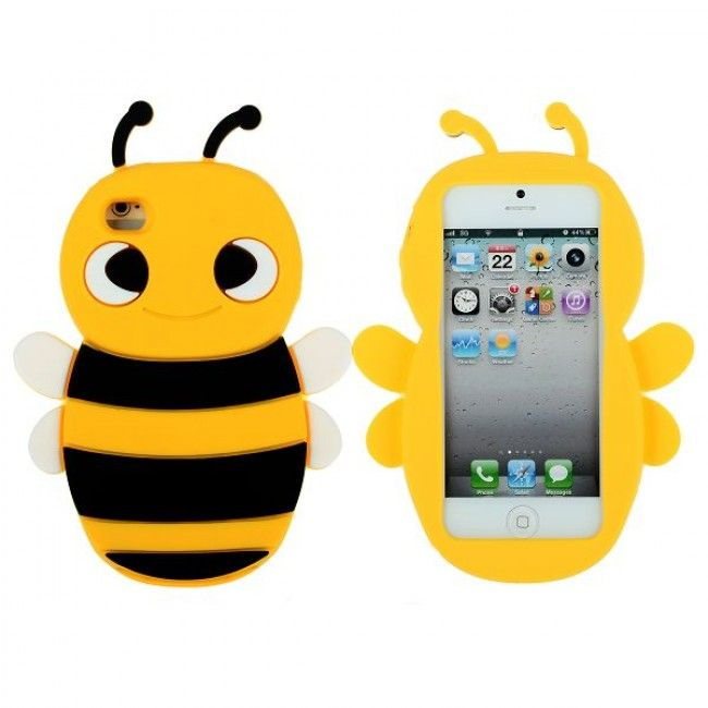 Happy Bee (Keltainen - Keltainen Pää) iPhone 5 Silikonisuojus - http://lux-case.fi/happy-bee-keltainen-keltainen-paa-iphone-5-silikonisuojus.html
