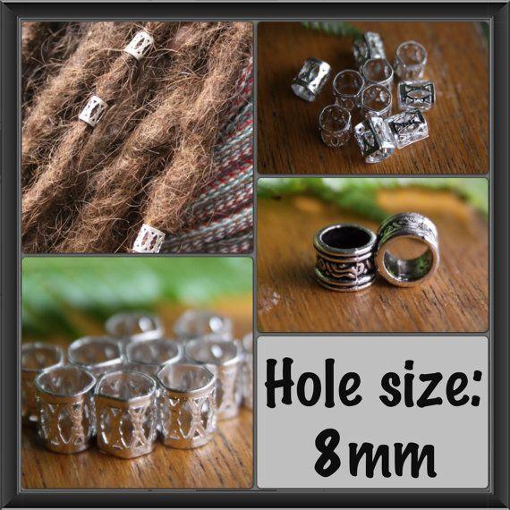20 Silver DREADLOCK Beads DREAD Hair Beads 8mm hole & by lyndar85, $6.50