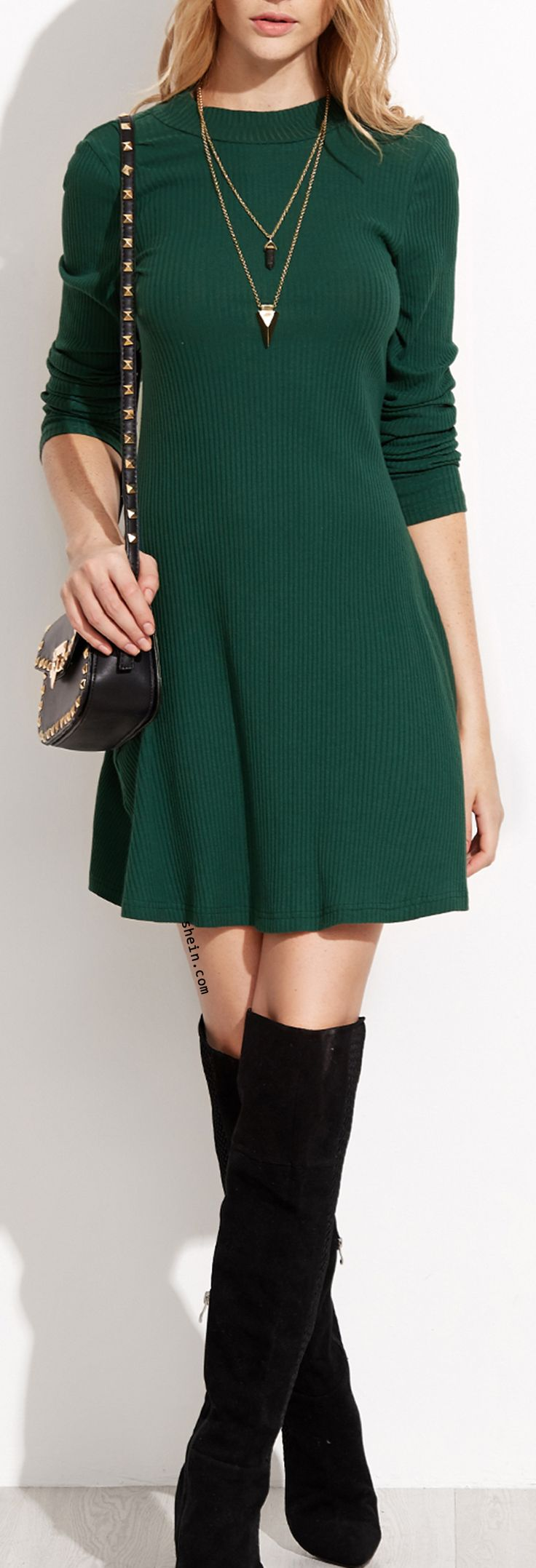 Green Ribbed Skater Dress. Chic with tight high boot.