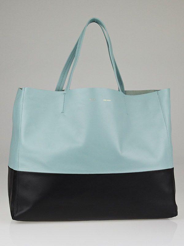 celine bag online - Celine Baby Blue/Black Lambskin Leather Horizontal Bi-Cabas Tote ...