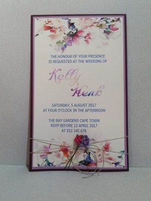 Floral watercolor wedding invitation.