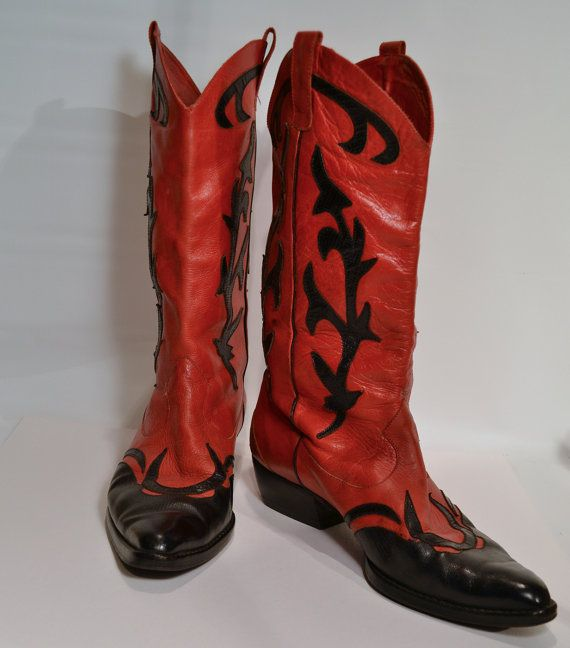 Fabulous Vintage Cowboy Boots Pirelli Italy Red by tandemantiques, $95.00