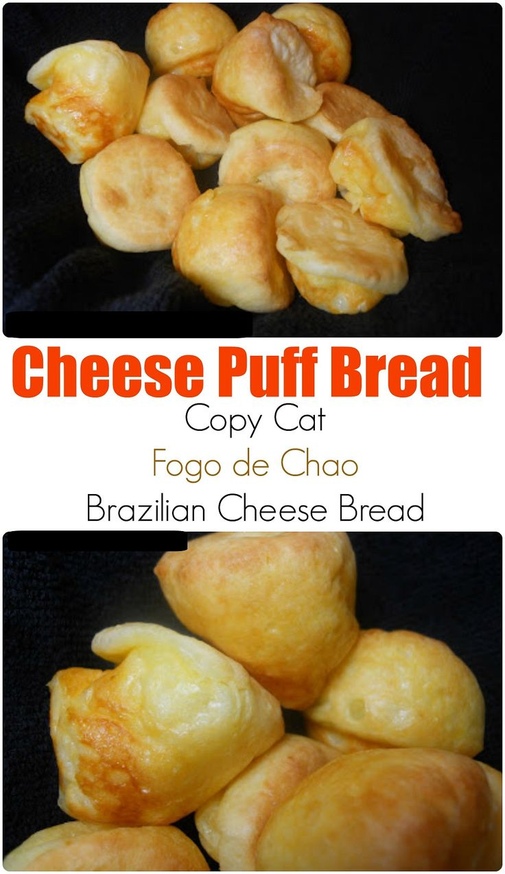 Copy cat Fogo de Chao Brazilian Cheese Puff bread- No yeast cheesy bread puffs ready in 30 minutes! Easy to freeze too.