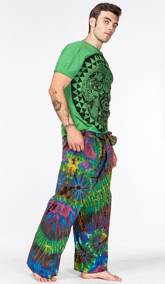 http://indiastyle.ru/products/muzhskie-shtany-akvamaniya тайские штаны с принтом тай-дай для йоги, хлопок, фишермены. Fisherman pants, 3380 рублей