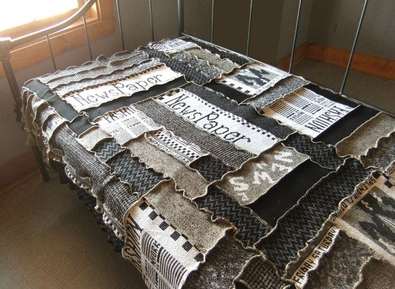 Items similar to Patchwork quilt knit blanket, Newpaper theme, black,white, upcycled sweater knit on Etsy