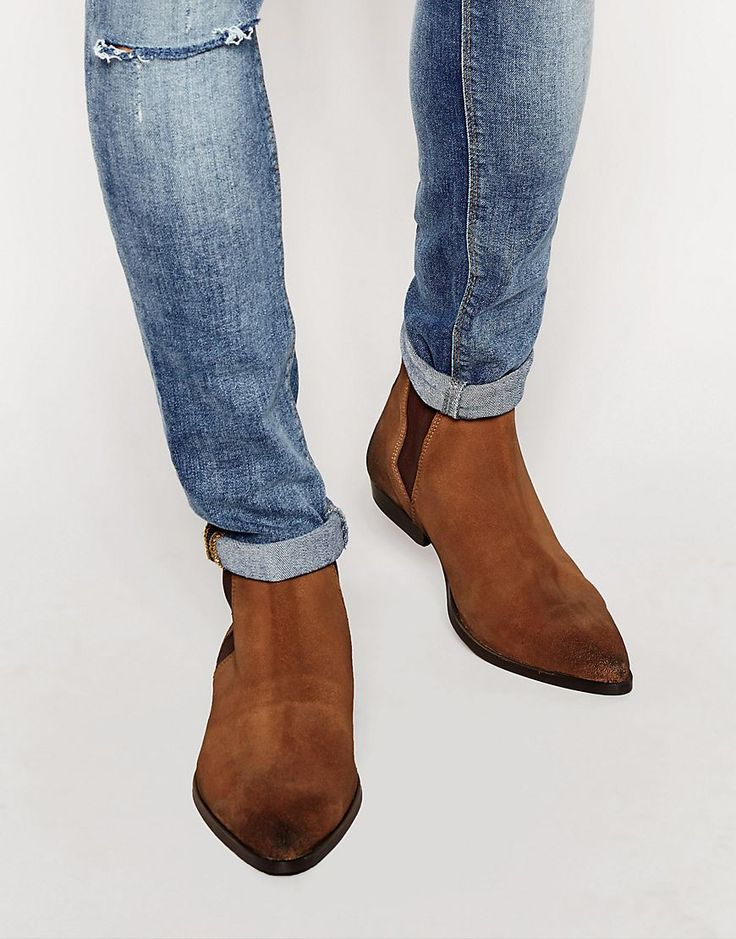 ASOS+Pointed+Chelsea+Boots+in+Brown+Suede