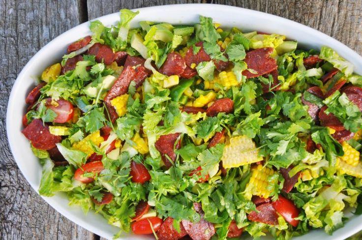 Salat med grillet majs og chorizo , Spanien,Sankt hans, Hovedret, Salat, opskrift
