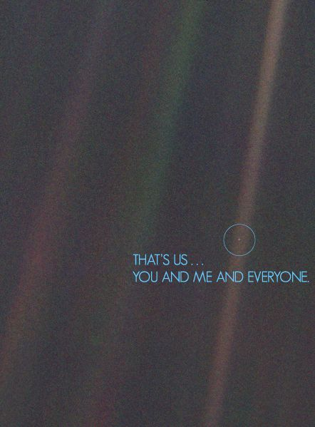 Voyager 1 was launched into space more than 36 years ago, this is a picture it sent of the Earth from space. A pale blue dot.