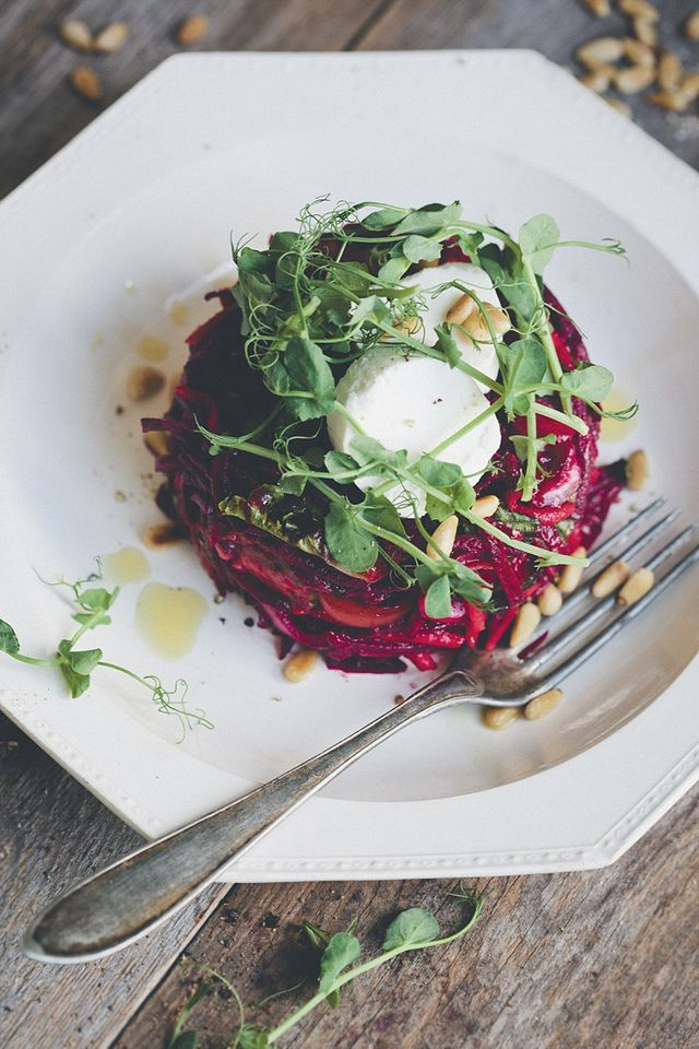 We weren't sure if we should call this a Veggie Tower or an Upside-Down Beet Salad. Both names are rather striking. Regardless of its name, this is a dish that you want to try because we are pretty su