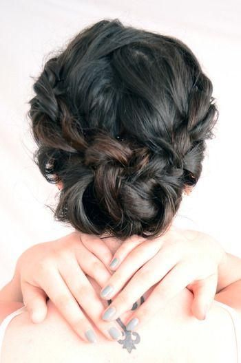 French braid on the side, both pulled in a bun in the middle