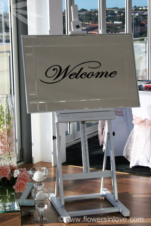 HIRE reception mirror welcome sign