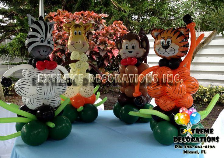 Jungle theme balloon centerpieces tiger zebra monkey