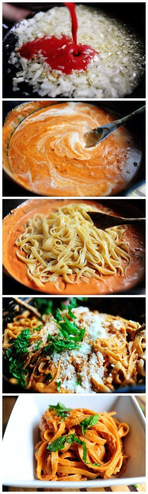 Pasta with Tomato Cream Sauce ~ If the evening came, and it is time for dinner and you are so exhausted to spend a lot of time on dinner preparation – do not worry we have a perfect problem-solving decision.