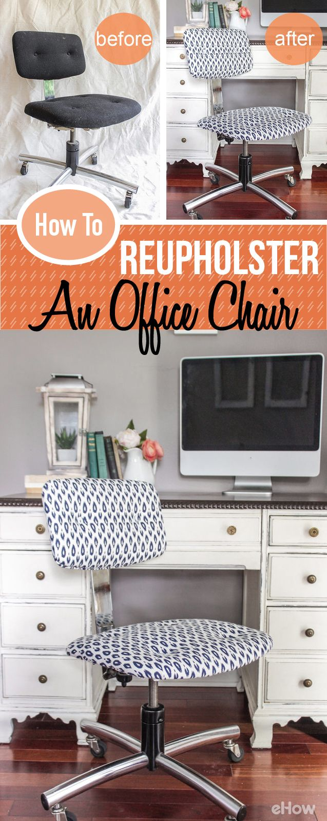 Transform your old, ugly office chair into a nice, trendy new one with some simple reupholstering! No need This simple face lift will make going back to school or back to work a little more pleasant. Get the directions with pictures here: http://www.ehow.com/how_4853465_reupholster-office-chair.html?utm_source=pinterest.com&utm_medium=referral&utm_content=freestyle&utm_campaign=fanpage