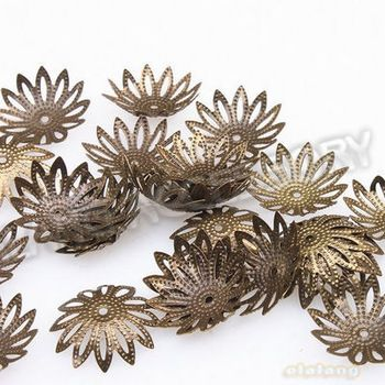 4.85 euro incl shipping New Arrival 600pcs/ lot Antique Bronze Iron Round Flower End Bead Caps jewelry caps 16x16x5mm 161040