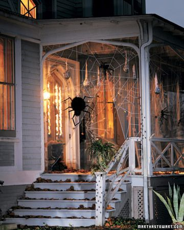 Great Halloween decorations for front porch! Giant Spider & Web.