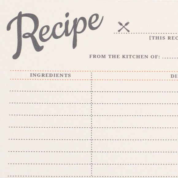 recipe card template for publisher