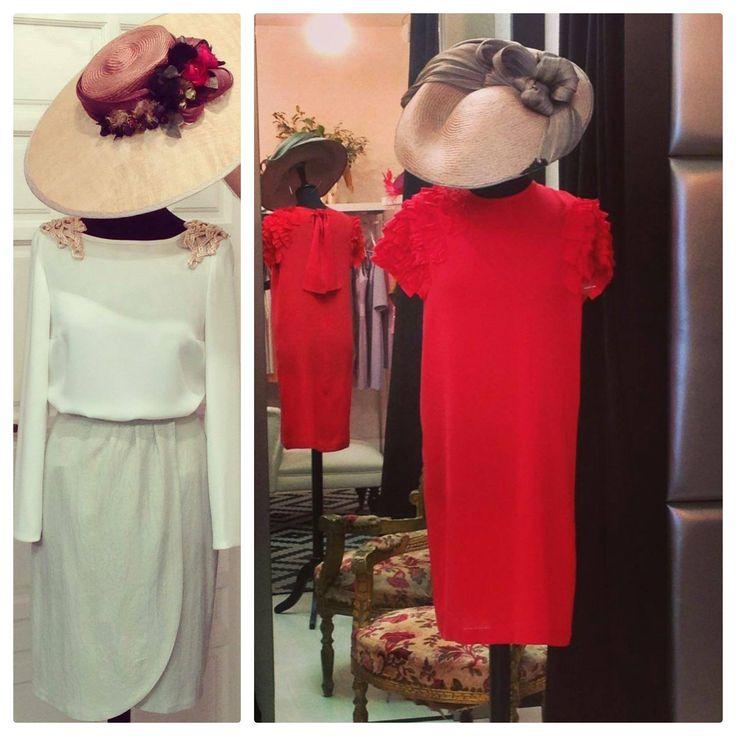 dos outfits para bodas diurnas con vestidos de Purogarbo y #pamela y #tocado de Hane. Fotos de Purogarbo.