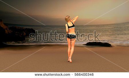 views of the beach with a young girl standing back to camera. Sunset or sunrise. 3D rendering, 3D illustration