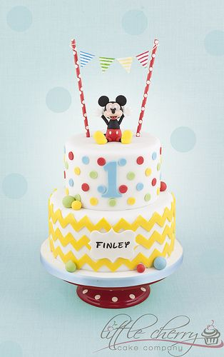 Red, Yellow, Green & Blue Dots and Chevron Mickey Cake with Bunting Topper (Finley)  Love, Love, Love !!