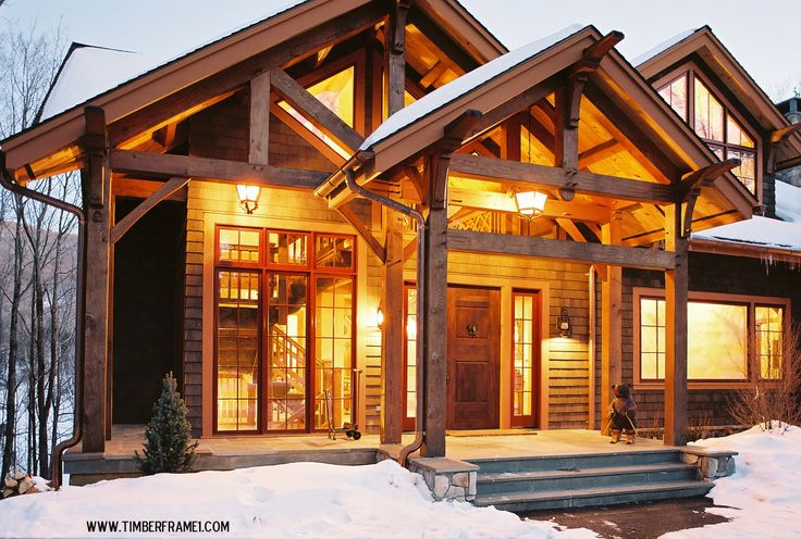 gorgeous timber frame entrance in winter