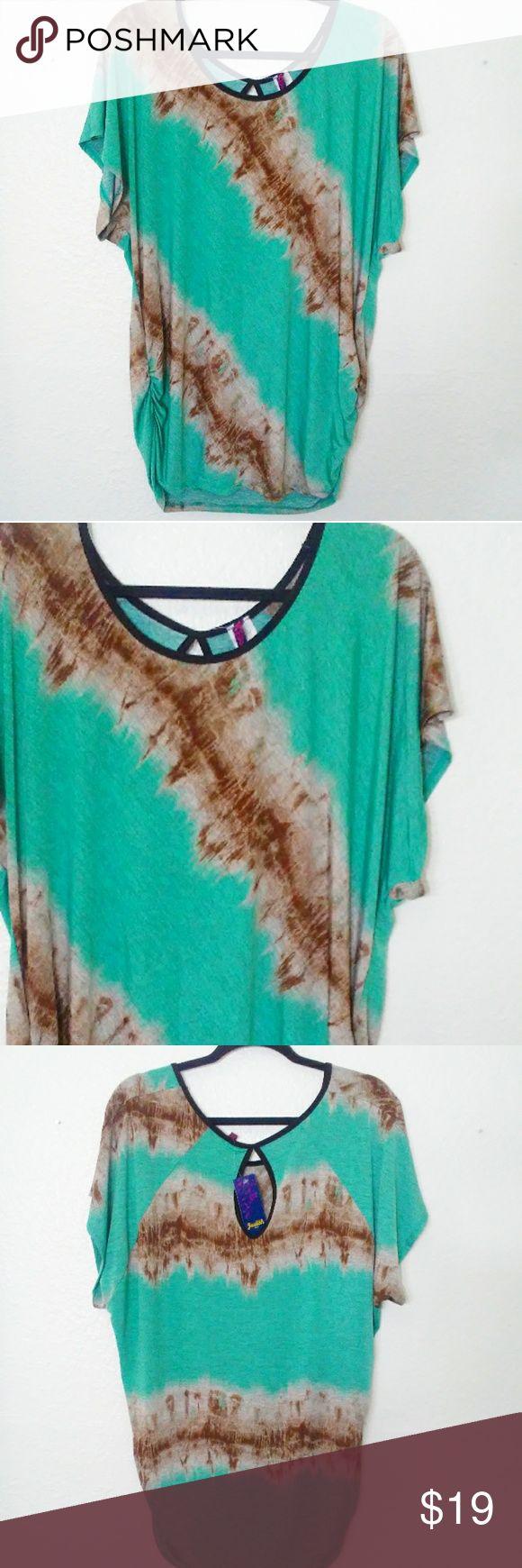 Judith 3X Dark Mint Green Tunic Top New With Tags , Peep hole baa Back. Aize 3X Judith Tops