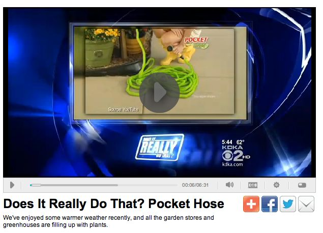 """CBS tested the Pocket Hose in a segment called """"Does it Really ..."""