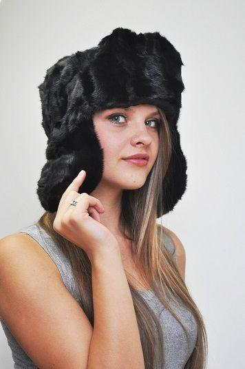 Black mink fur hat - Russian style