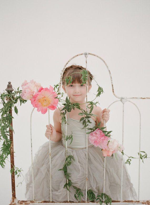 The Lauren Flower Girl Dress Grey by DolorisPetunia on Etsy, $550.00