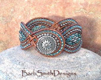Azul plata Superduo abrigo brazalete pulsera por BarbSmithDesigns