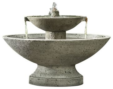 Jensen Garden Water Fountain, Travertine - traditional - Outdoor Fountains - Soothing Company